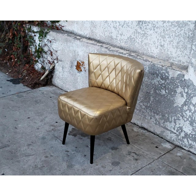 Phenomenal 1950S Vintage Diamond Pleated Leather Slipper Chair Forskolin Free Trial Chair Design Images Forskolin Free Trialorg