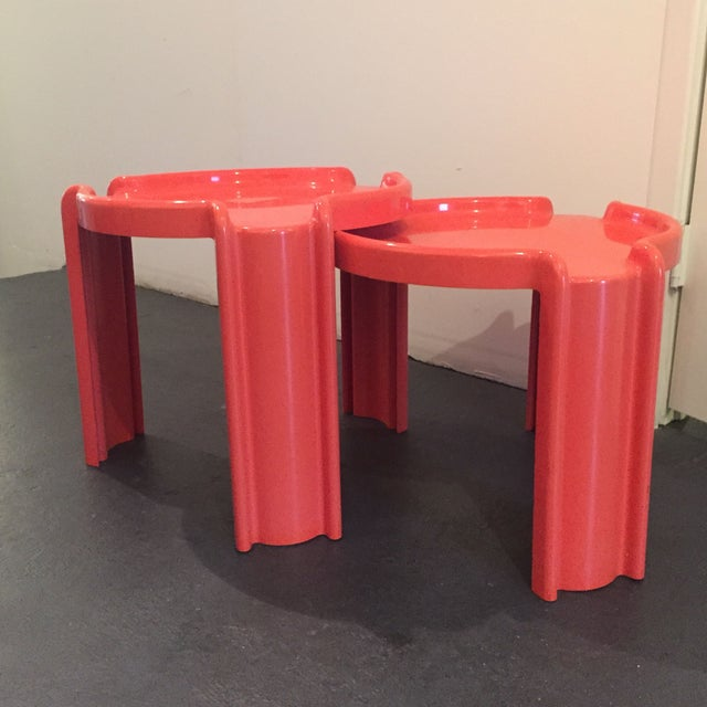 Red Nesting Side Tables - A Pair - Image 2 of 6