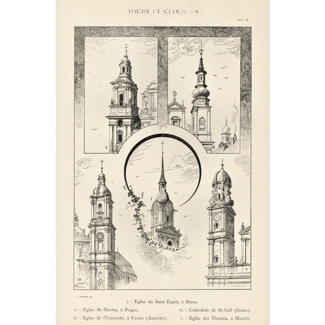Large C1880s French Architecture Lithograph of Towers & Clock Towers For Sale
