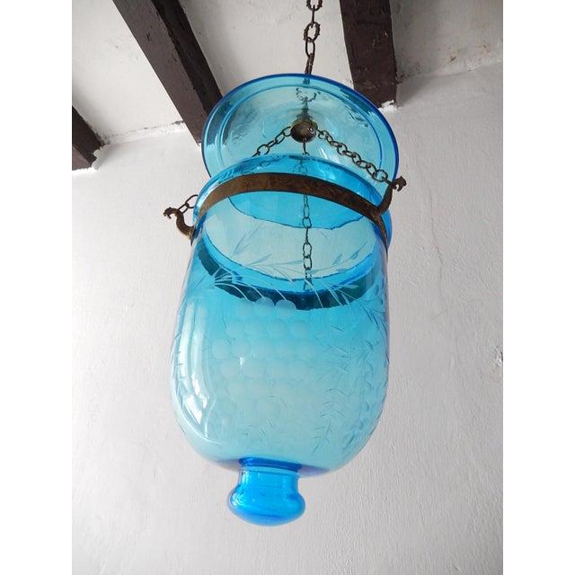 Blue English Cobalt Blue Bell Jar Lantern Chandelier For Sale - Image 8 of 13
