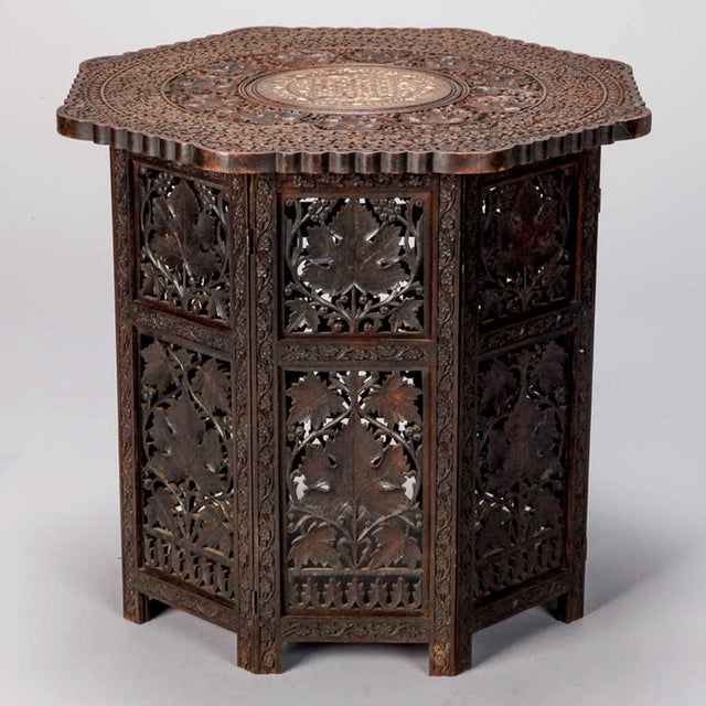 Octagonal Delicately Carved Dark Wood Moorish Table - Image 9 of 9