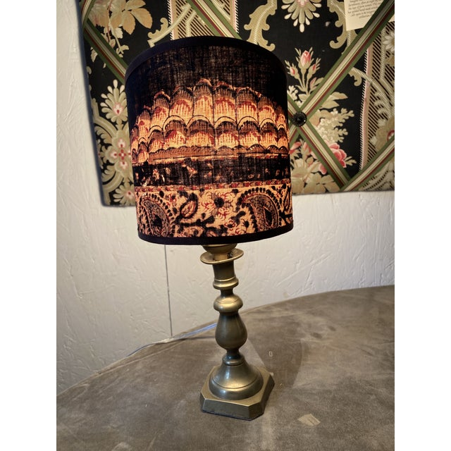 Petite Brass Lamp With Sconce Shade For Sale - Image 4 of 11