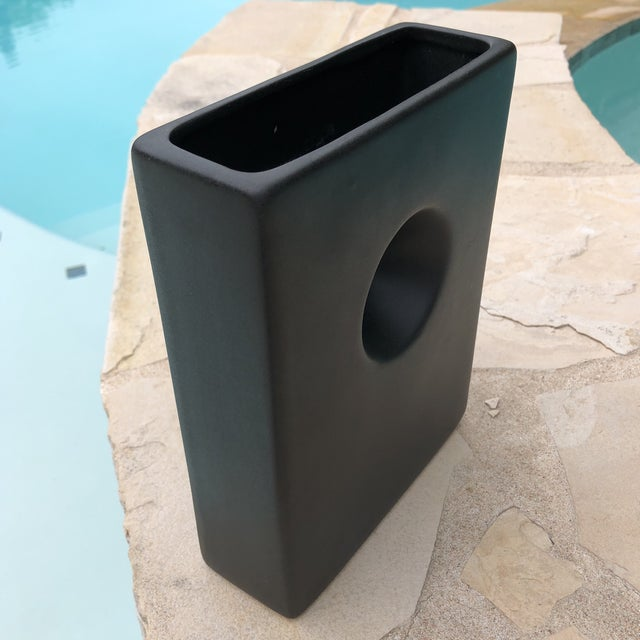 Modernist Matte Black Ilebana Vase For Sale - Image 5 of 11