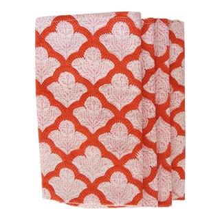 Modern Roberta Roller Rabbit Pink and Orange Napkins- Set of 4 For Sale