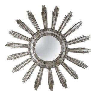 Monumental Silvered Sunburst Mirror by Melissa Levinson For Sale