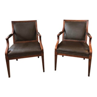 Mid Century Traditional Leather ArmChairs by Baker Furniture For Sale