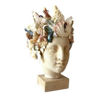 Small Limestone and Shell Hygiea Head For Sale
