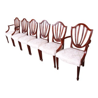 Baker Furniture Historic Charleston Carved Mahogany Dining Chairs, Set of Six For Sale