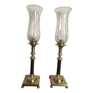 Cut Crystal Glass, Brass and Black Candlesticks - a Pair For Sale