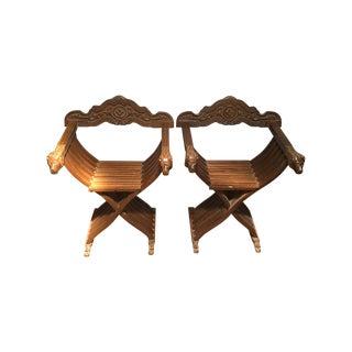 Vintage Savonarola Dante Lion Head Chairs - A Pair For Sale