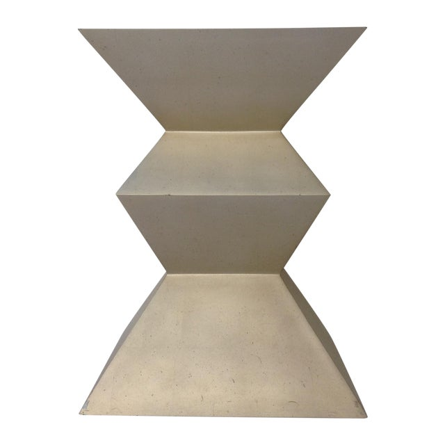 Sirmos Silver-Leaf Cubist Dining Table Base For Sale