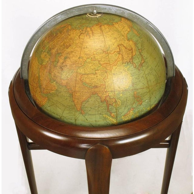 Replogle Illuminated Glass Globe on Mahogany Articulated Stand, circa 1940s - Image 8 of 10