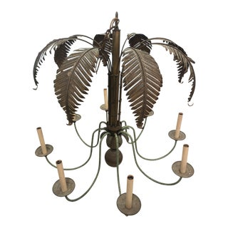 Vintage Brass Palm Tree Frond Leaf 8 Light Chandelier For Sale