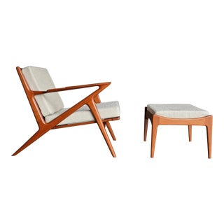 "Poul Jensen "" Z "" Lounge Chair and Ottoman for Selig of Denmark For Sale"