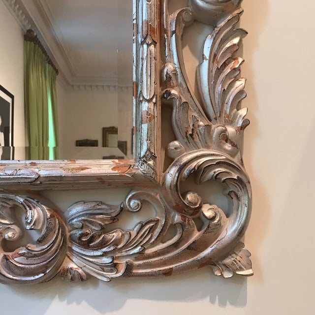 2000 - 2009 Art Deco Silver Brocade Large Wall Mirror For Sale - Image 5 of 7