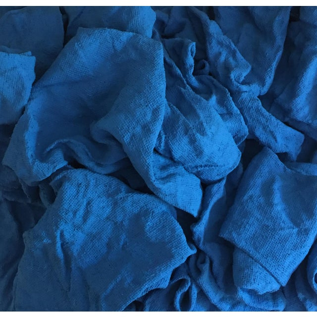 """2010s """"Electric Blue Folds"""" Mixed Media Wall Sculpture For Sale - Image 5 of 6"""
