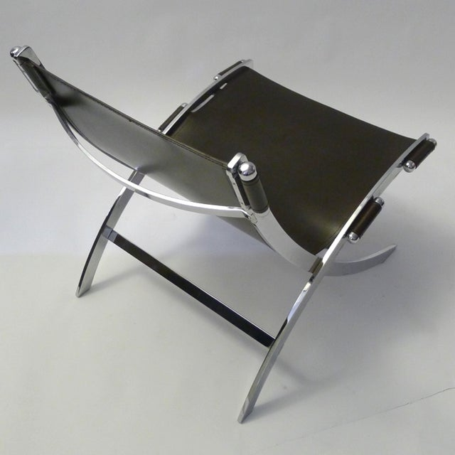 Leather and Chrome Sling Chair Paul Tuttle - Image 4 of 6