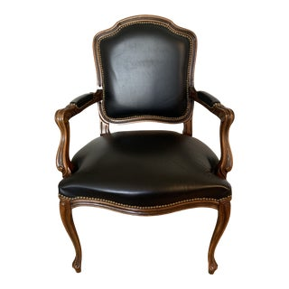 1990s Vintage Black Leather Side Chair For Sale