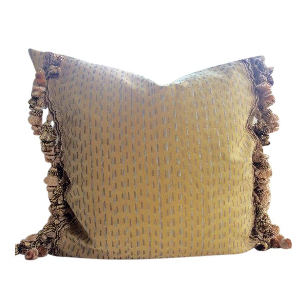 Not Yet Made - Made To Order Fortuny Pillows in Cilindri Silver & Gold on Mustard - a Pair For Sale - Image 5 of 5
