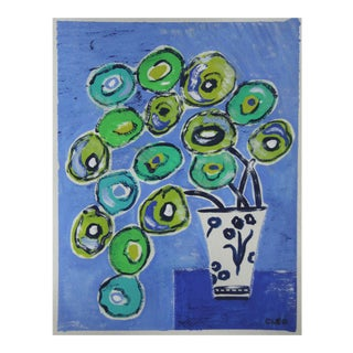 Blue and Green Floral by Cleo Plowden For Sale