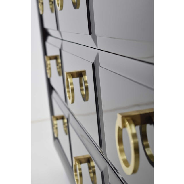 Robsjohn-Gibbings for Widdicomb Chest of Drawers in Black Lacquer For Sale - Image 9 of 13