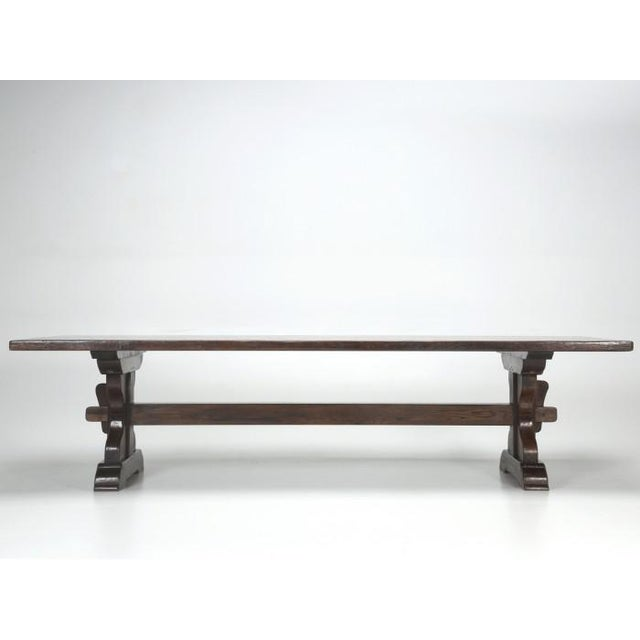 Wood Antique French Oak Trestle Dining Table For Sale - Image 7 of 11