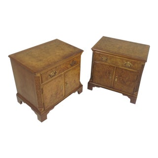 Baker Burled Walnut Night Stands - a Pair