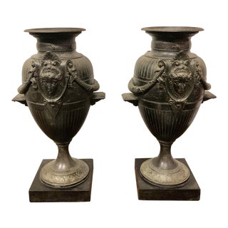 19th Century Baroque Black Metal Urns - a Pair