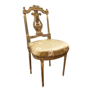 Antique Gilt Wood Lyre Back Chair - Original Silk Seat With Nailheads For Sale