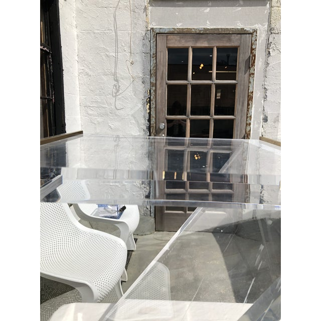 Lucite Z Drinks Table With Brass Detail For Sale - Image 12 of 13