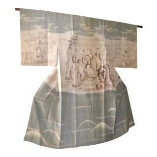 1930 Japanese Kimono, Kano School Painted Wise Men For Sale