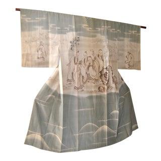 1930 Japanese Kimono, Kano School Painted Wise Men