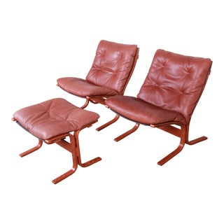 Ingmar Relling for Westnofa Bentwood Teak and Leather Siesta Lounge Chairs and Ottoman For Sale