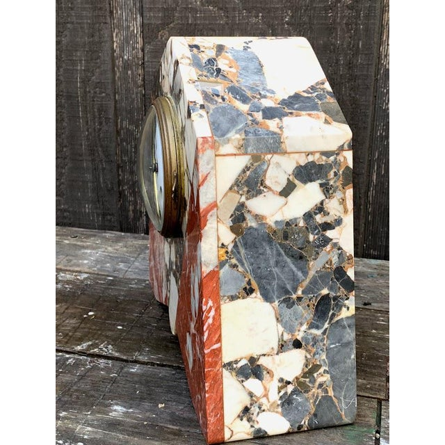French Art Deco Marble Mantle Clock For Sale - Image 4 of 12
