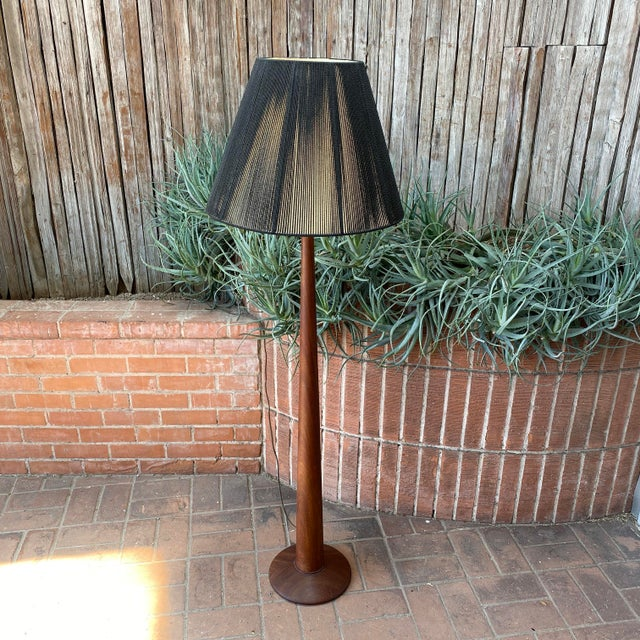 Mid-Century Modern Vintage Danish Modern Teak Floor Lamp With Period Black String Shade For Sale - Image 3 of 13
