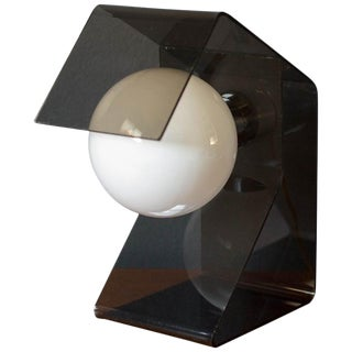 Vintage Space Age Smoked Lucite Globe Lamp For Sale