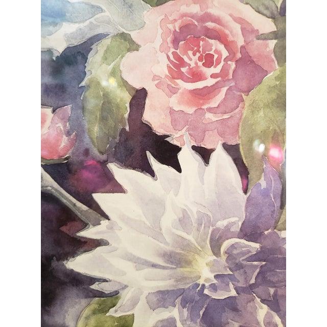 Vintage 1980's Framed Floral Watercolor Print For Sale - Image 4 of 7