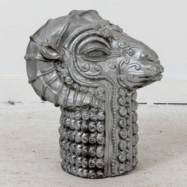Mid-Century Modern 1960s Mid-Century Plaster Ram's Head Sculpture For Sale - Image 3 of 7