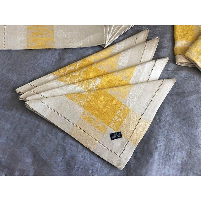 Shabby Chic Vintage Damask Linen Napkins - Set of 12 For Sale - Image 3 of 13