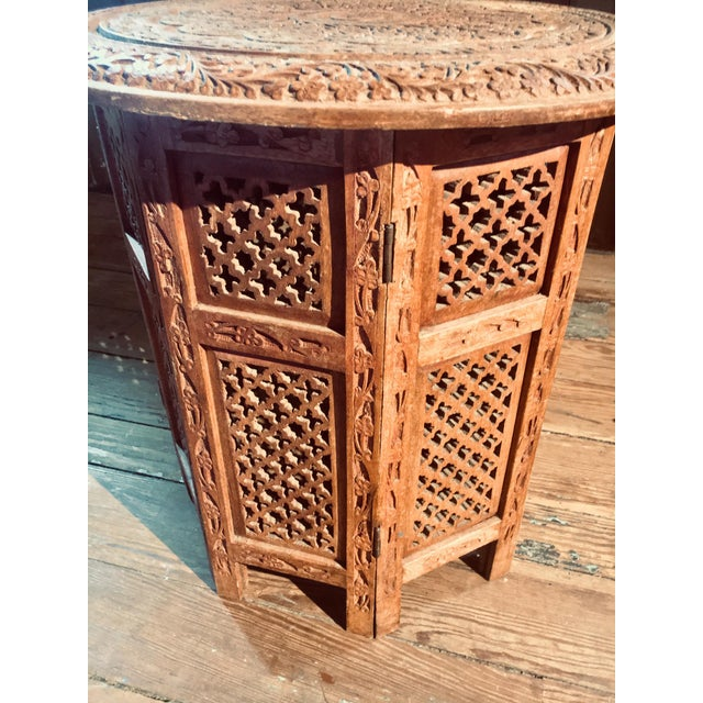 Moroccan 20th Century Moroccan Heavily Carved Folding Table For Sale - Image 3 of 7