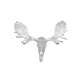 Wall Charmers Alberta Faux White + Silver Glitter Antlers Resin Moose Head Skull For Sale