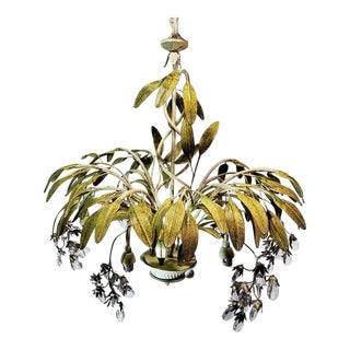 20th Century Art Deco Elegant Tole Floral Chandelier For Sale