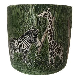 1970s Vintage Zebra & Giraffe Jungle Ceramic Planter For Sale