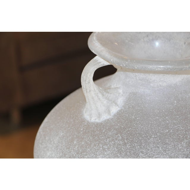 Mid 20th Century Beautiful Signed Seguso Scavo Corroso Vase With Handles For Sale - Image 5 of 10