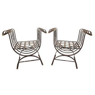 Metal Garden Benches - A Pair For Sale