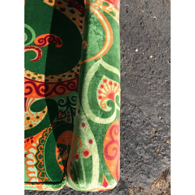 Green 1980s Vintage Velvet Paisley Parsons Chair For Sale - Image 8 of 11