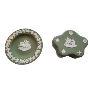 Wedgewood Sage Green Jasperware Box and Dish For Sale