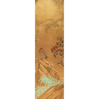 C. 1960s Large Japanese Gold Silk Chinoiserie Painted Panel For Sale