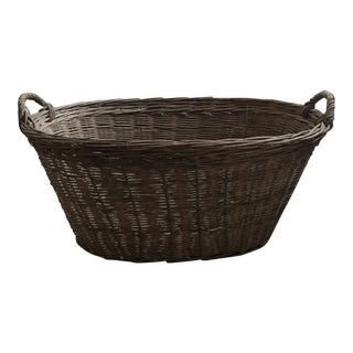 Vintage Wicker Laundry Basket For Sale