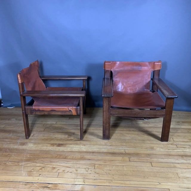 1970s Pair 1970s Saddle Leather Arm Chairs, Mobring Style For Sale - Image 5 of 13